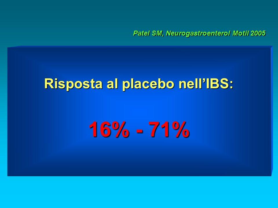 Risposta al placebo nellIBS: 16% - 71% Patel SM, Neurogastroenterol Motil 2005