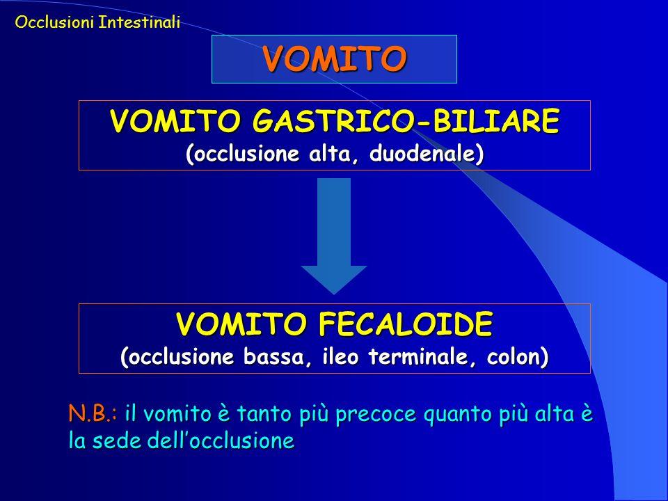 VOMITO Occlusioni Intestinali VOMITO GASTRICO-BILIARE (occlusione alta, duodenale) VOMITO FECALOIDE (occlusione bassa, ileo terminale, colon) N.B.: il