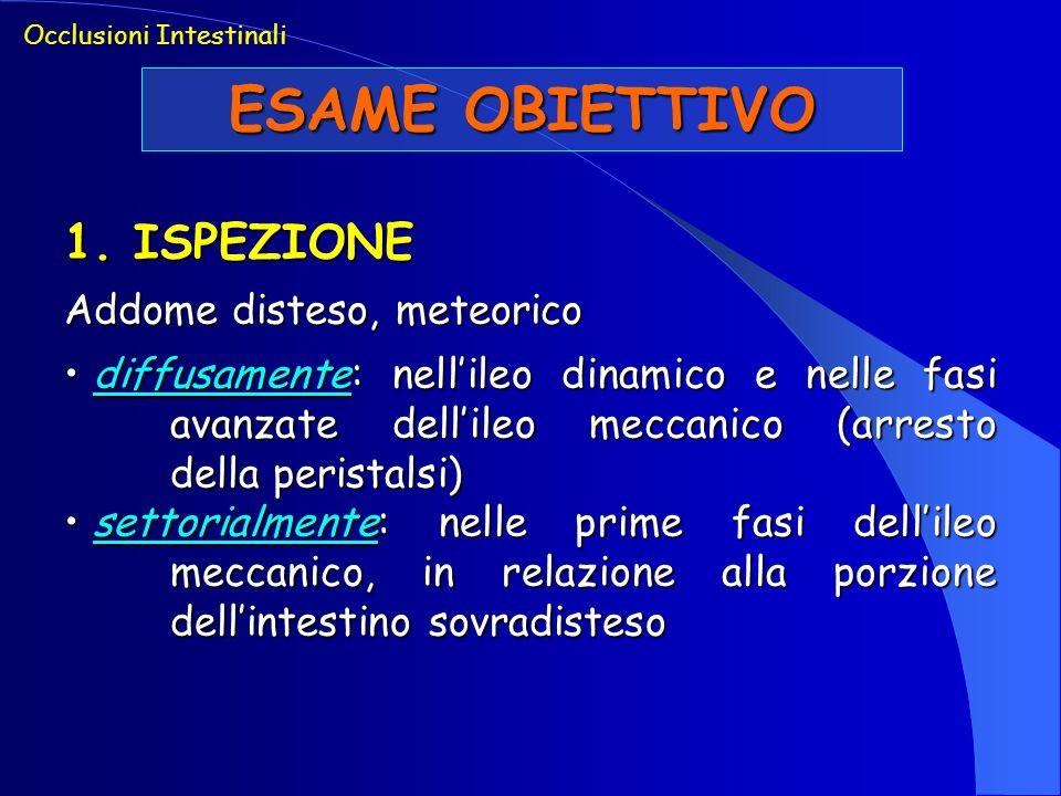 ESAME OBIETTIVO 1. ISPEZIONE Addome disteso, meteorico diffusamente: nellileo dinamico e nelle fasi avanzate dellileo meccanico (arresto della perista