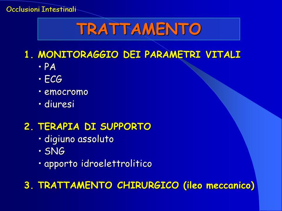 TRATTAMENTO Occlusioni Intestinali 1. MONITORAGGIO DEI PARAMETRI VITALI PA PA ECG ECG emocromo emocromo diuresi diuresi 2. TERAPIA DI SUPPORTO digiuno