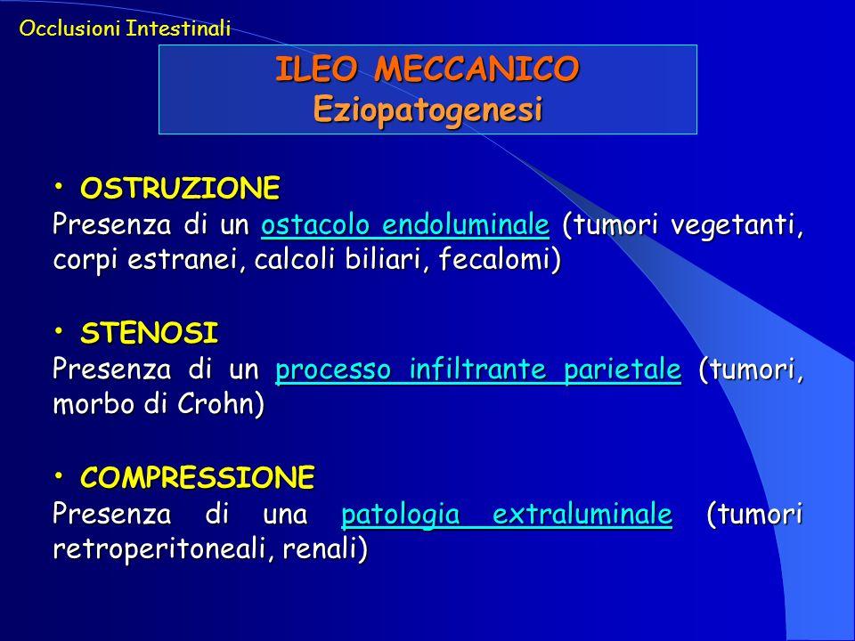 ILEO MECCANICO Eziopatogenesi Occlusioni Intestinali ANGOLATURA ANGOLATURA Formazione di angoli acuti lungo il decorso intestinale (aderenze viscero-viscerali e viscero-parietali) STRANGOLAMENTO STRANGOLAMENTO Grave compromissione vascolare del tratto occluso (invaginazione, volvolo, strozzamento da cingolo)