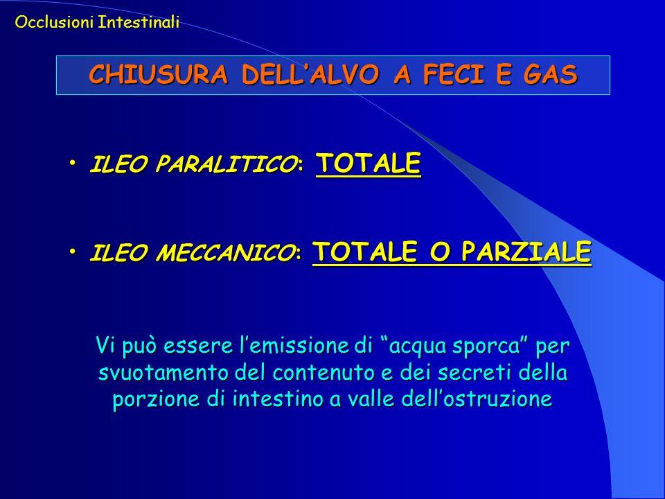 Occlusioni Intestinali CHIUSURA DELLALVO A FECI E GAS ILEO PARALITICO: TOTALE ILEO PARALITICO: TOTALE ILEO MECCANICO: TOTALE O PARZIALE ILEO MECCANICO
