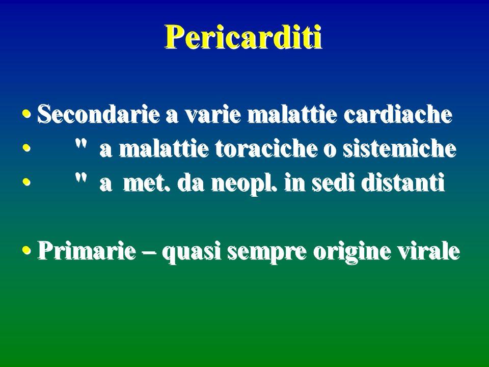 Pericarditi Secondarie a varie malattie cardiache