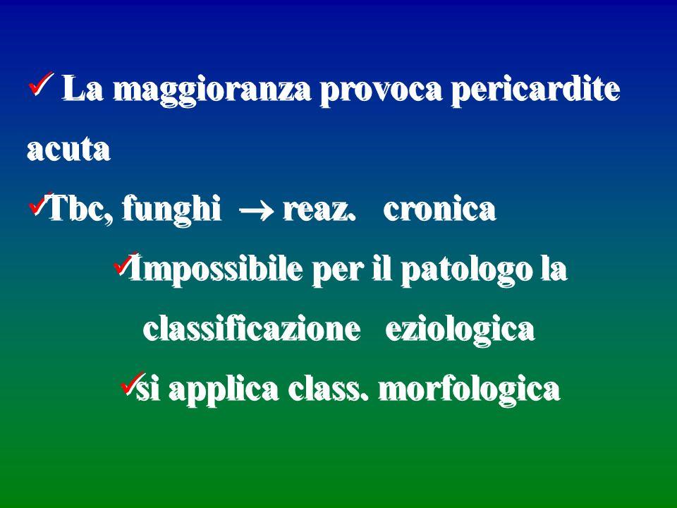 La maggioranza provoca pericardite acuta Tbc, funghi reaz. cronica Impossibile per il patologo la classificazione eziologica si applica class. morfolo