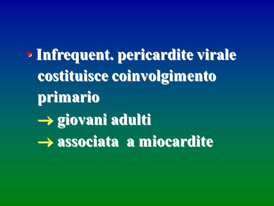 Infrequent. pericardite virale costituisce coinvolgimento primario giovani adulti associata a miocardite Infrequent. pericardite virale costituisce co