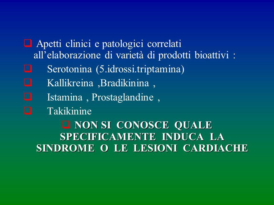 Apetti clinici e patologici correlati allelaborazione di varietà di prodotti bioattivi : Serotonina (5.idrossi.triptamina) Kallikreina,Bradikinina, Is