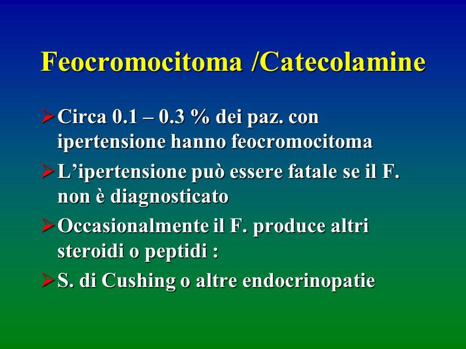 Feocromocitoma /Catecolamine Circa 0.1 – 0.3 % dei paz. con ipertensione hanno feocromocitoma Circa 0.1 – 0.3 % dei paz. con ipertensione hanno feocro