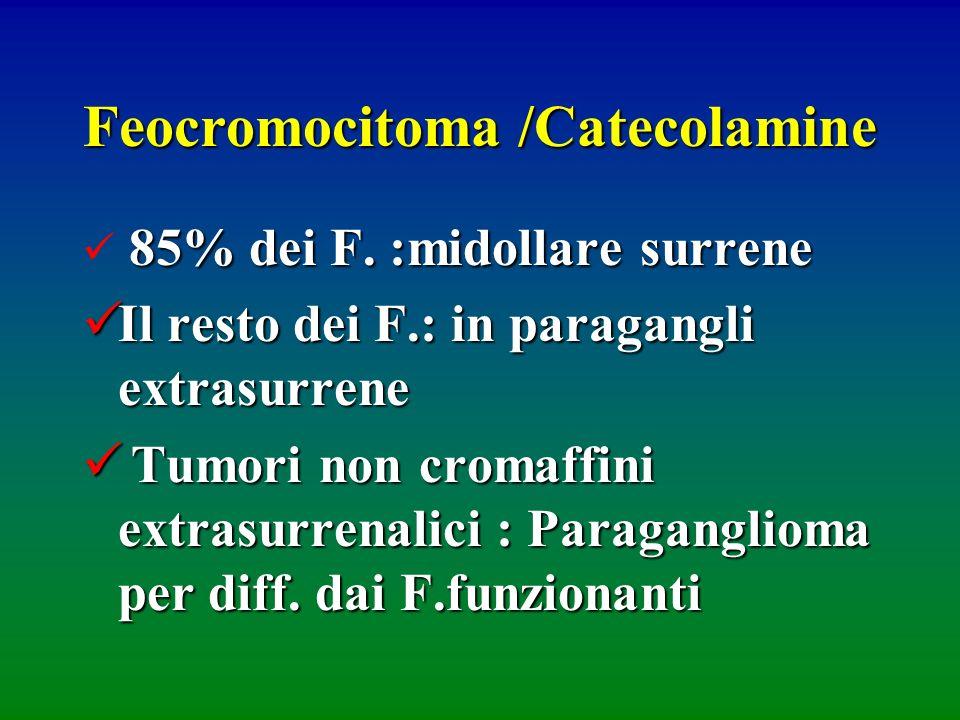 Feocromocitoma /Catecolamine 85% dei F. :midollare surrene Il resto dei F.: in paragangli extrasurrene Il resto dei F.: in paragangli extrasurrene Tum