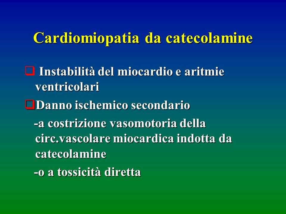 Cardiomiopatia da catecolamine Instabilità del miocardio e aritmie ventricolari Danno ischemico secondario Danno ischemico secondario -a costrizione v