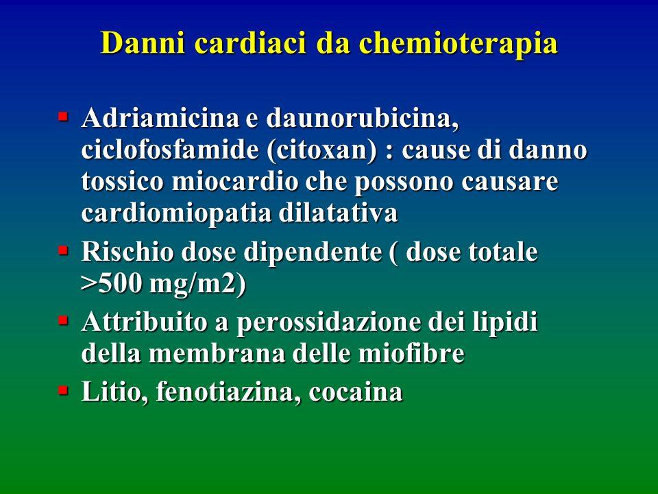Danni cardiaci da chemioterapia Adriamicina e daunorubicina, ciclofosfamide (citoxan) : cause di danno tossico miocardio che possono causare cardiomio