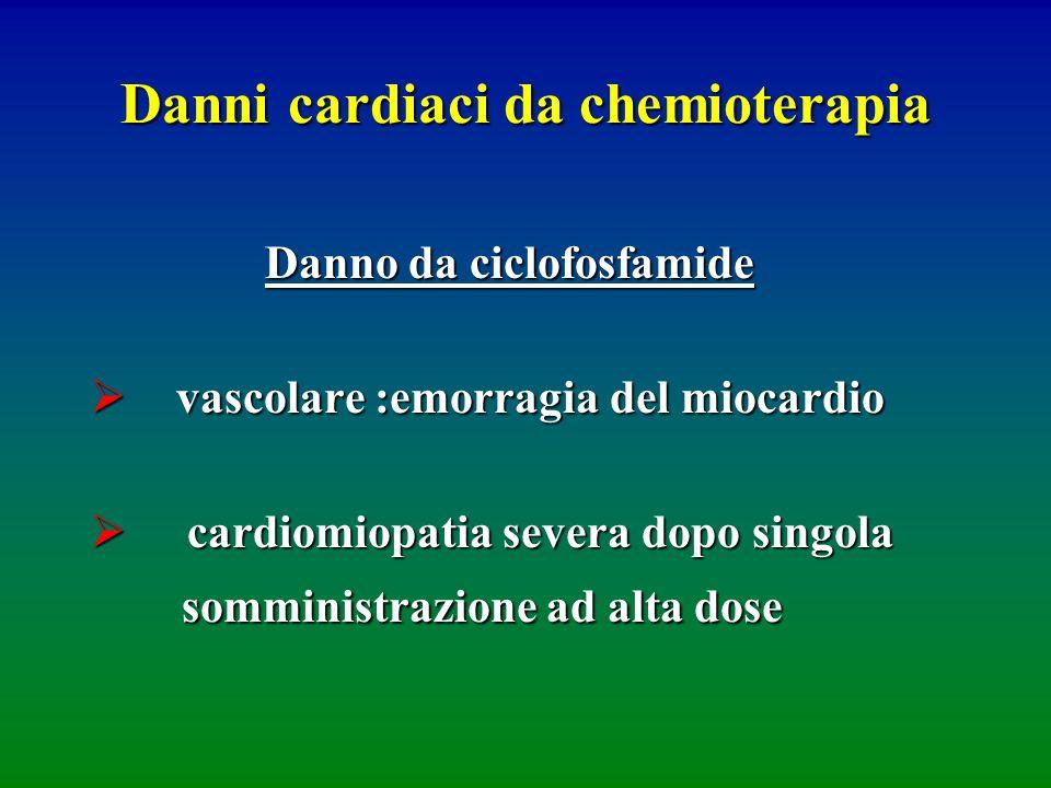Danni cardiaci da chemioterapia Danno da ciclofosfamide vascolare :emorragia del miocardio vascolare :emorragia del miocardio cardiomiopatia severa do