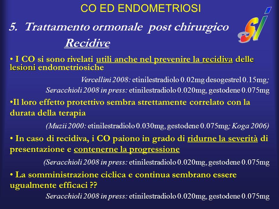 CO ED ENDOMETRIOSI 5. Trattamento ormonale post chirurgico Recidive recidiva delle lesioni I CO si sono rivelati utili anche nel prevenire la recidiva