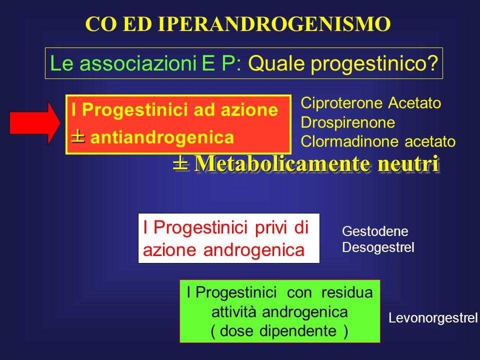 I Progestinici ad azione ± ± antiandrogenica I Progestinici privi di azione androgenica I Progestinici con residua attività androgenica ( dose dipende