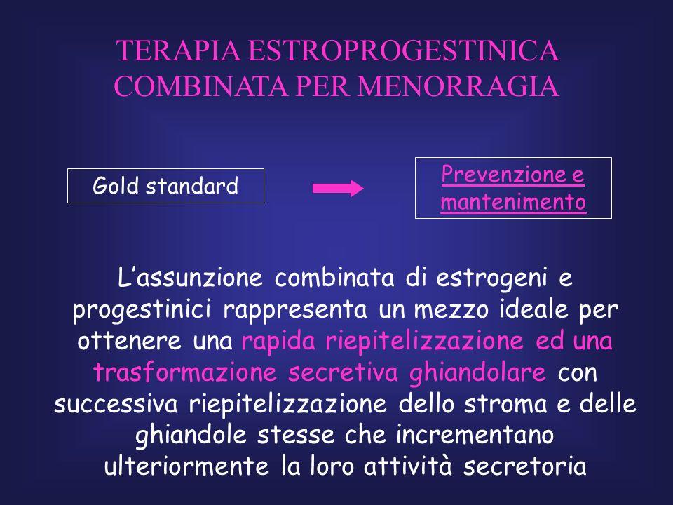 Lassunzione combinata di estrogeni e progestinici rappresenta un mezzo ideale per ottenere una rapida riepitelizzazione ed una trasformazione secretiv