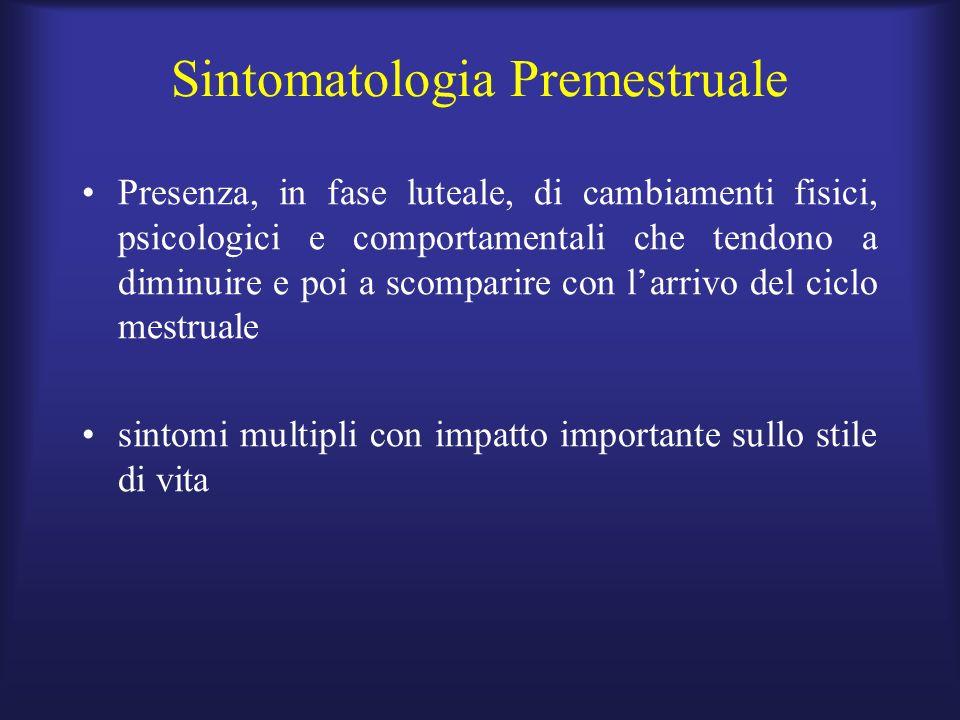 Sintomatologia Premestruale Presenza, in fase luteale, di cambiamenti fisici, psicologici e comportamentali che tendono a diminuire e poi a scomparire