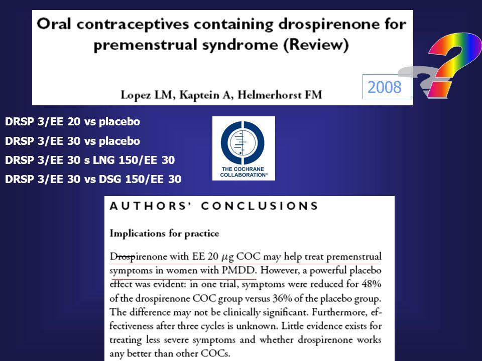 2008 DRSP 3/EE 20 vs placebo DRSP 3/EE 30 vs placebo DRSP 3/EE 30 s LNG 150/EE 30 DRSP 3/EE 30 vs DSG 150/EE 30
