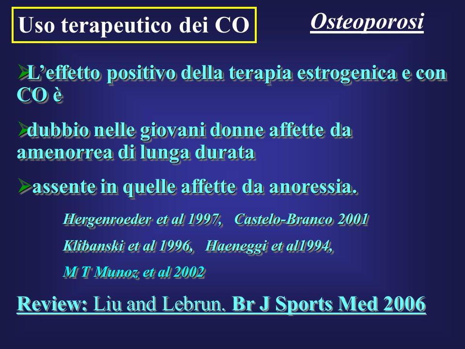 Uso terapeutico dei CO Osteoporosi Leffetto positivo della terapia estrogenica e con CO è Leffetto positivo della terapia estrogenica e con CO è dubbi