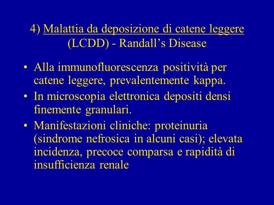 4) Malattia da deposizione di catene leggere (LCDD) - Randalls Disease Alla immunofluorescenza positività per catene leggere, prevalentemente kappa. I