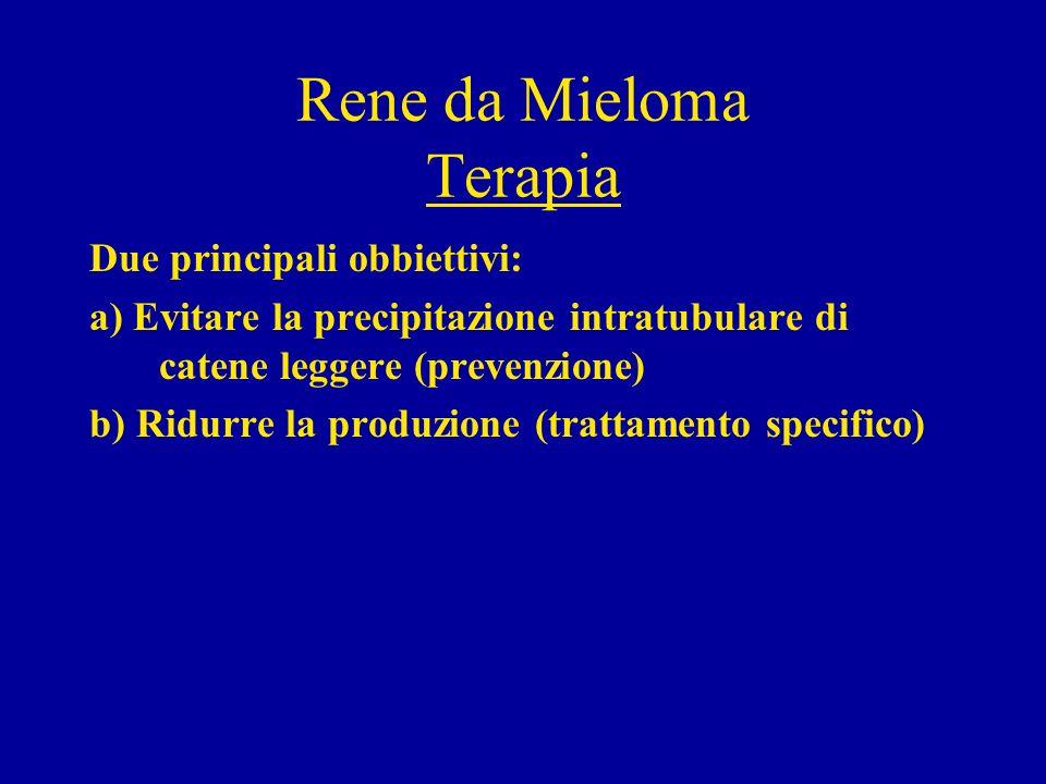 Rene da Mieloma Terapia Due principali obbiettivi: a) Evitare la precipitazione intratubulare di catene leggere (prevenzione) b) Ridurre la produzione