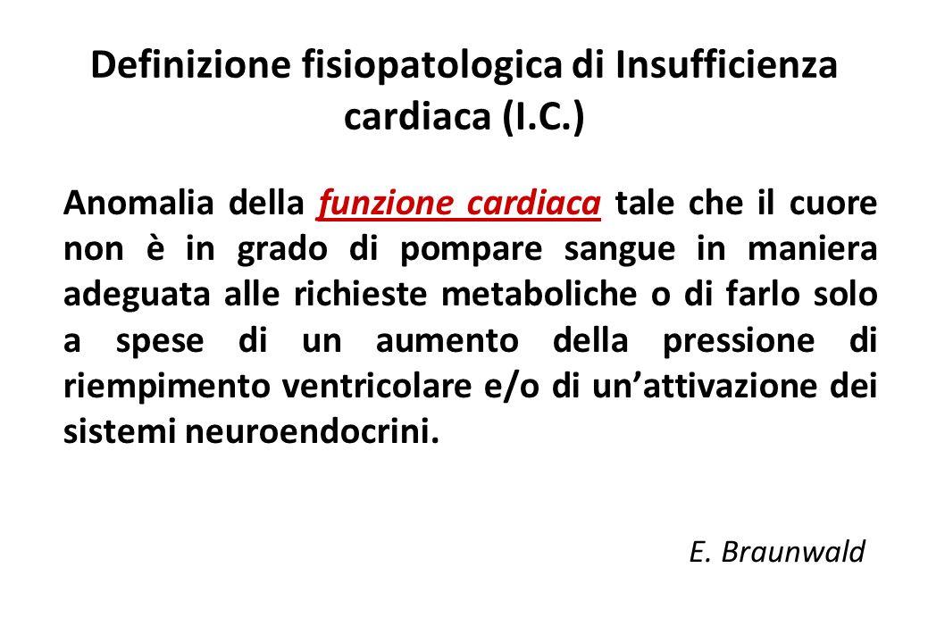 Definizione fisiopatologica di Insufficienza cardiaca (I.C.) Anomalia della funzione cardiaca tale che il cuore non è in grado di pompare sangue in ma