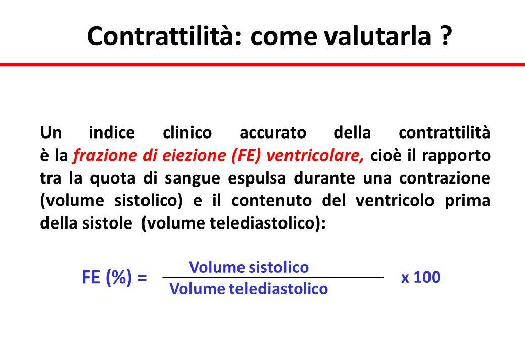Un indice clinico accurato della contrattilità è la frazione di eiezione (FE) ventricolare, cioè il rapporto tra la quota di sangue espulsa durante un