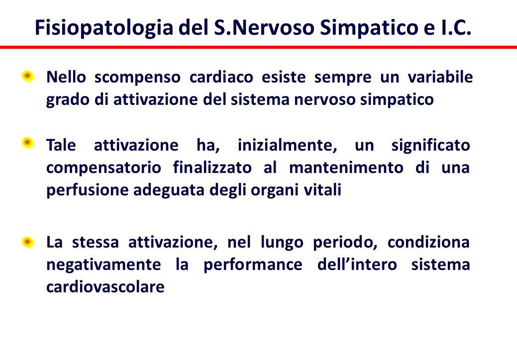 Fisiopatologia del S.Nervoso Simpatico e I.C. Nello scompenso cardiaco esiste sempre un variabile grado di attivazione del sistema nervoso simpatico T