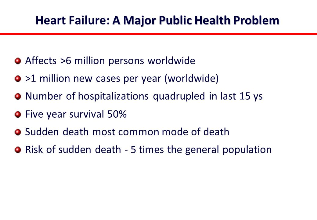 A Major Public Health Problem Heart Failure: A Major Public Health Problem Affects >6 million persons worldwide >1 million new cases per year (worldwide) Number of hospitalizations quadrupled in last 15 ys Five year survival 50% Sudden death most common mode of death Risk of sudden death - 5 times the general population