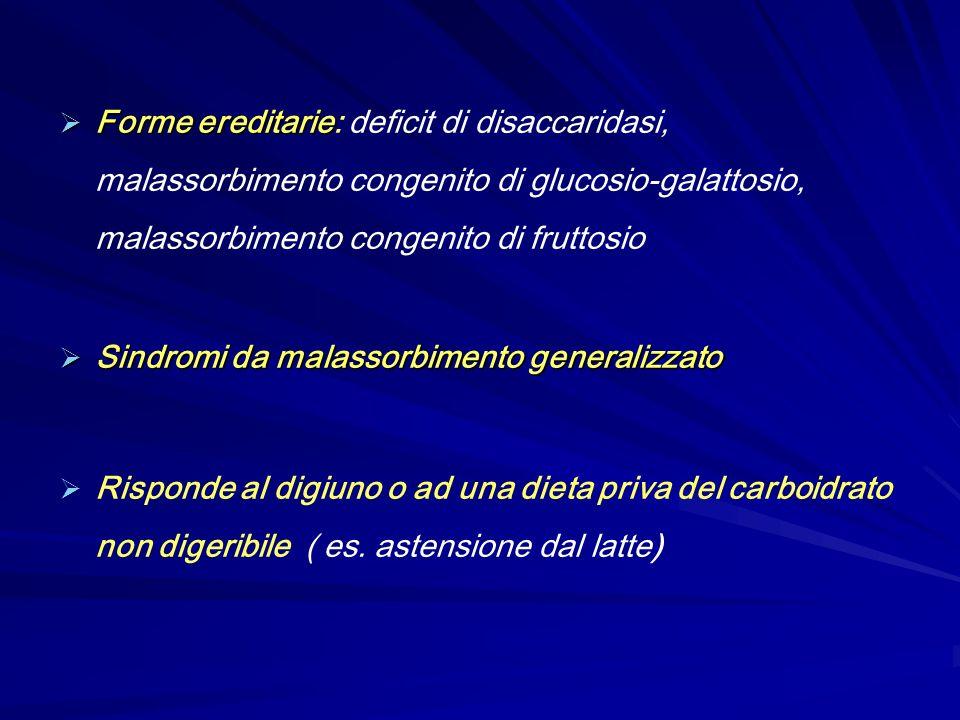 Forme ereditarie Forme ereditarie: deficit di disaccaridasi, malassorbimento congenito di glucosio-galattosio, malassorbimento congenito di fruttosio