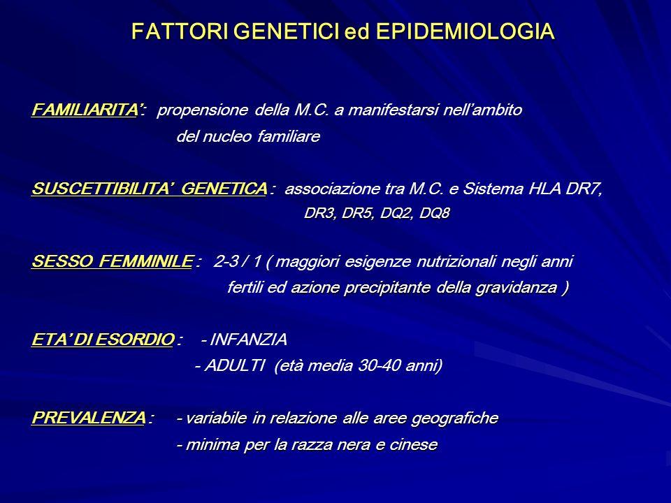 FATTORI GENETICI ed EPIDEMIOLOGIA FAMILIARITA FAMILIARITA: propensione della M.C. a manifestarsi nellambito del nucleo familiare SUSCETTIBILITA GENETI