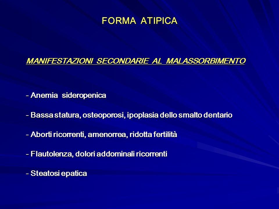 FORMA ATIPICA MANIFESTAZIONI SECONDARIE AL MALASSORBIMENTO - Anemia sideropenica - Bassa statura, osteoporosi, ipoplasia dello smalto dentario - Abort