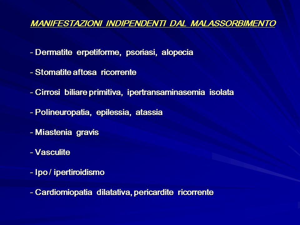 MANIFESTAZIONI INDIPENDENTI DAL MALASSORBIMENTO - Dermatite erpetiforme, psoriasi, alopecia - Stomatite aftosa ricorrente - Cirrosi biliare primitiva,