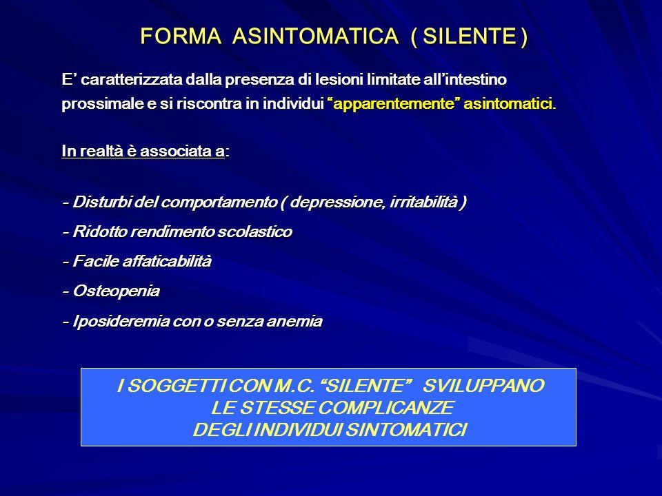 FORMA ASINTOMATICA ( SILENTE ) FORMA ASINTOMATICA ( SILENTE ) E caratterizzata dalla presenza di lesioni limitate allintestino prossimale e si riscont