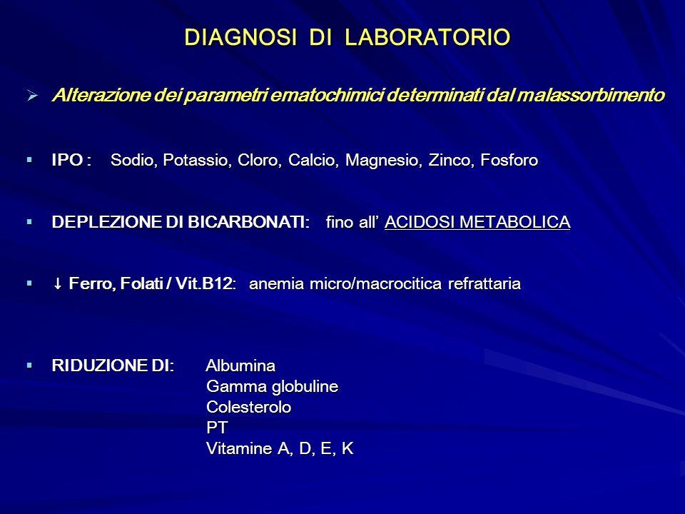 DIAGNOSI DI LABORATORIO DIAGNOSI DI LABORATORIO Alterazione dei parametri ematochimici determinati dal malassorbimento Alterazione dei parametri emato