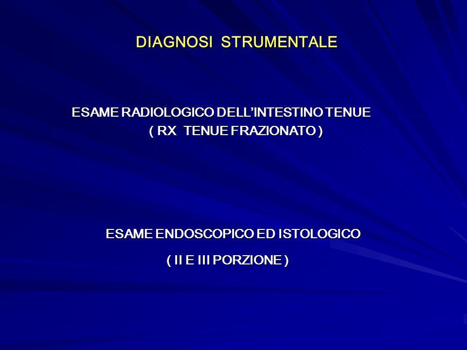 DIAGNOSI STRUMENTALE DIAGNOSI STRUMENTALE ESAME RADIOLOGICO DELLINTESTINO TENUE ESAME RADIOLOGICO DELLINTESTINO TENUE ( RX TENUE FRAZIONATO ) ( RX TEN