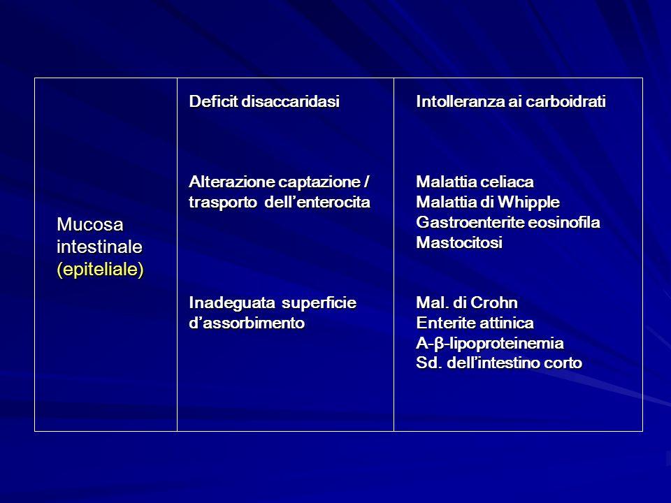 Intolleranza ai carboidrati Malattia celiaca Malattia di Whipple Gastroenterite eosinofila Mastocitosi Mal. di Crohn Enterite attinica A-β-lipoprotein