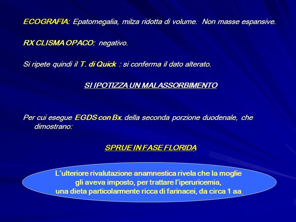 ECOGRAFIA: Epatomegalia, milza ridotta di volume. Non masse espansive. RX CLISMA OPACO: negativo. Si ripete quindi il T. di Quick : si conferma il dat
