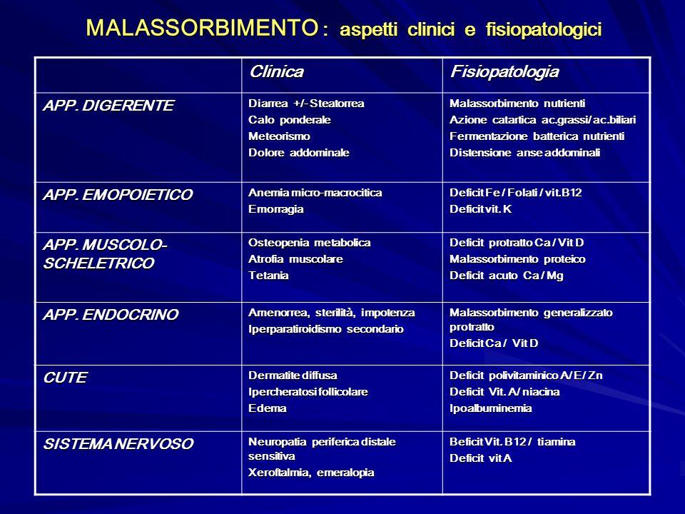 MALASSORBIMENTO : aspetti clinici e fisiopatologici ClinicaFisiopatologia APP. DIGERENTE Diarrea +/- Steatorrea Calo ponderale Meteorismo Dolore addom