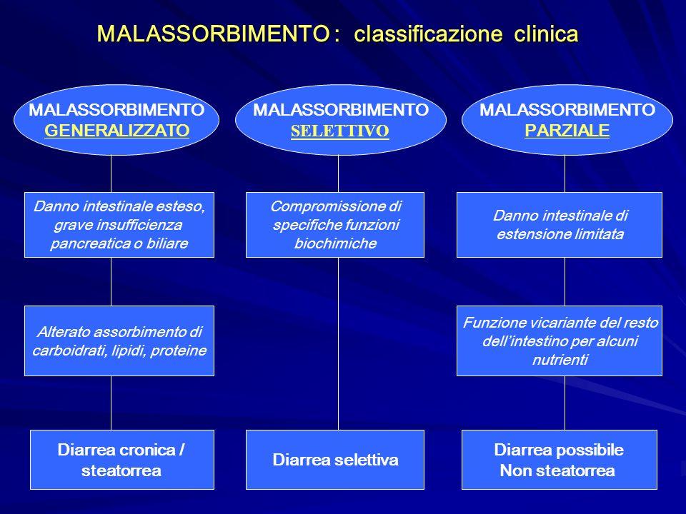 MALASSORBIMENTO : classificazione clinica MALASSORBIMENTO GENERALIZZATO MALASSORBIMENTO SELETTIVO MALASSORBIMENTO PARZIALE Danno intestinale esteso, g