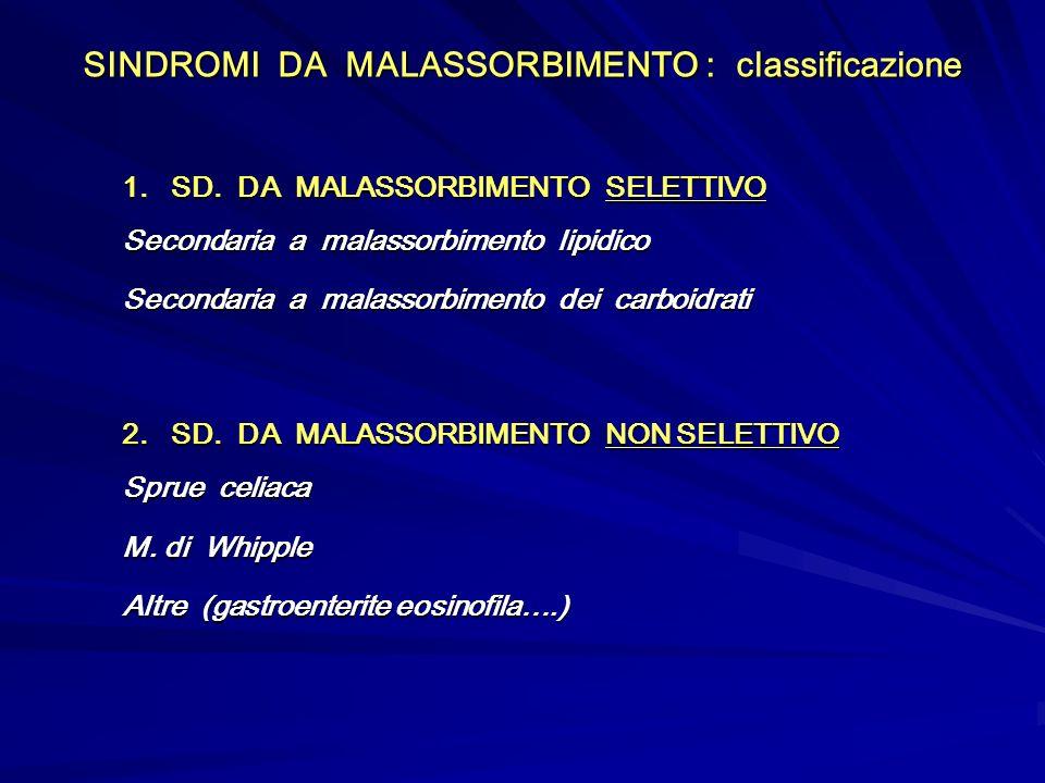 SINDROMI DA MALASSORBIMENTO : classificazione 1. SD. DA MALASSORBIMENTO SELETTIVO Secondaria a malassorbimento lipidico Secondaria a malassorbimento d