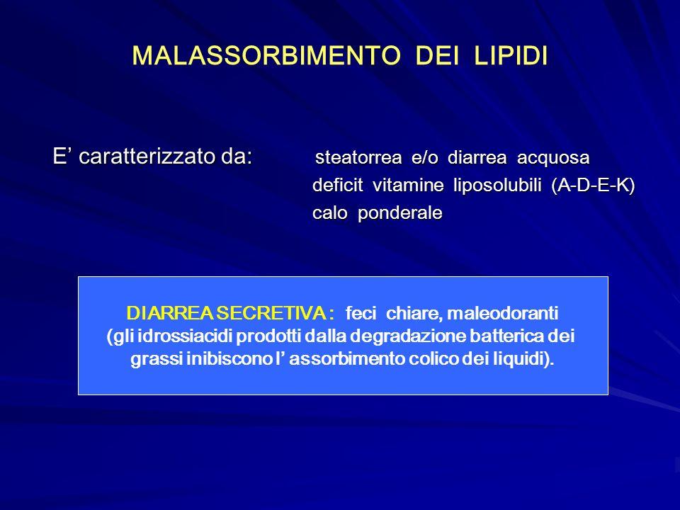 MALASSORBIMENTO DEI LIPIDI E caratterizzato da: s teatorrea e/o diarrea acquosa deficit vitamine liposolubili (A-D-E-K) deficit vitamine liposolubili