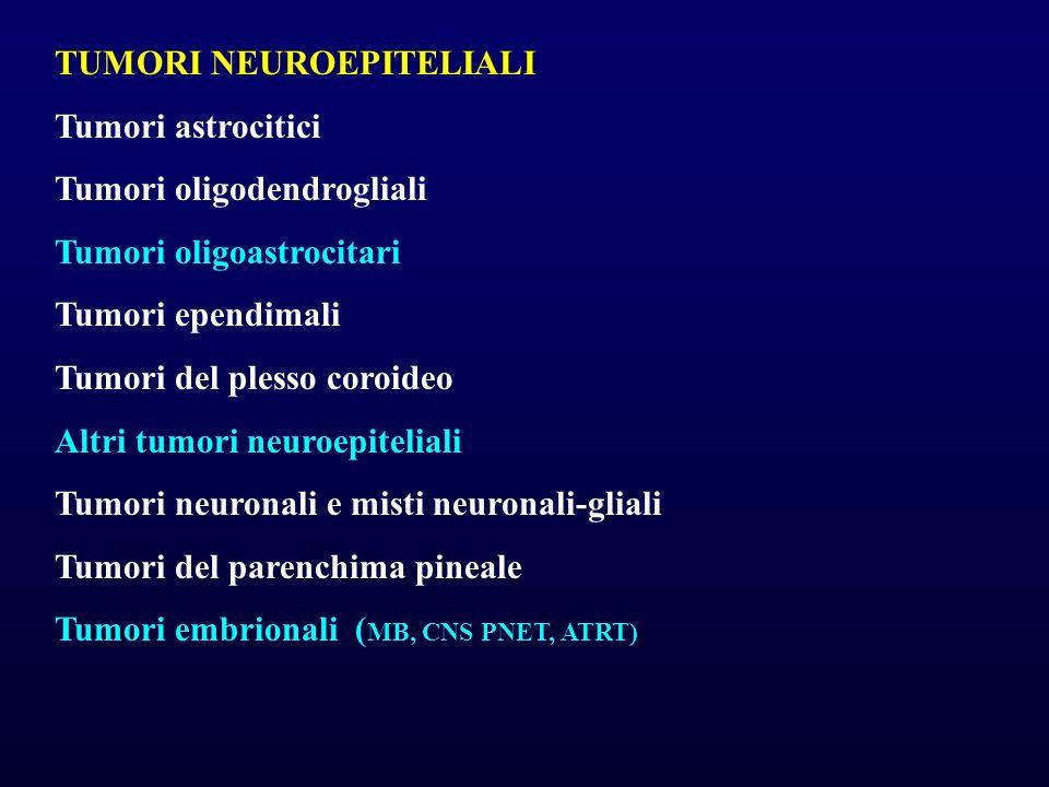 TUMORI NEUROEPITELIALI Tumori astrocitici Tumori oligodendrogliali Tumori oligoastrocitari Tumori ependimali Tumori del plesso coroideo Altri tumori n