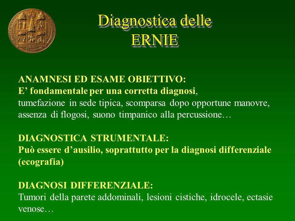 Diagnostica delle ERNIE ERNIE ANAMNESI ED ESAME OBIETTIVO: E fondamentale per una corretta diagnosi, tumefazione in sede tipica, scomparsa dopo opport