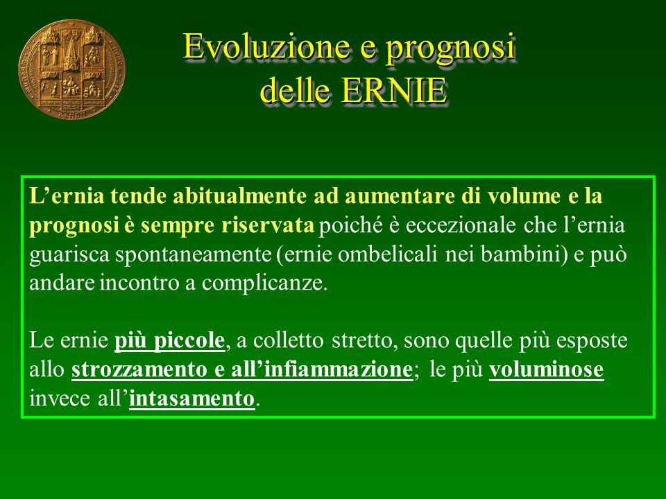 Evoluzione e prognosi delle ERNIE delle ERNIE Evoluzione e prognosi delle ERNIE delle ERNIE Lernia tende abitualmente ad aumentare di volume e la prog