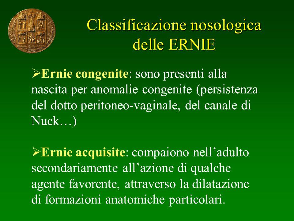 Classificazione nosologica delle ERNIE Ernie congenite: sono presenti alla nascita per anomalie congenite (persistenza del dotto peritoneo-vaginale, d