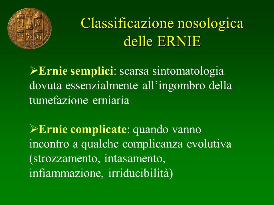 Classificazione nosologica delle ERNIE Ernie semplici: scarsa sintomatologia dovuta essenzialmente allingombro della tumefazione erniaria Ernie compli