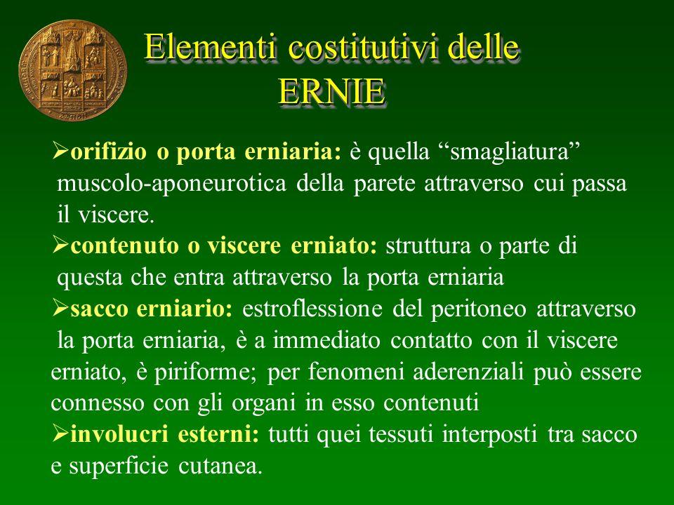 Elementi costitutivi delle ERNIE ERNIE orifizio o porta erniaria: è quella smagliatura muscolo-aponeurotica della parete attraverso cui passa il visce
