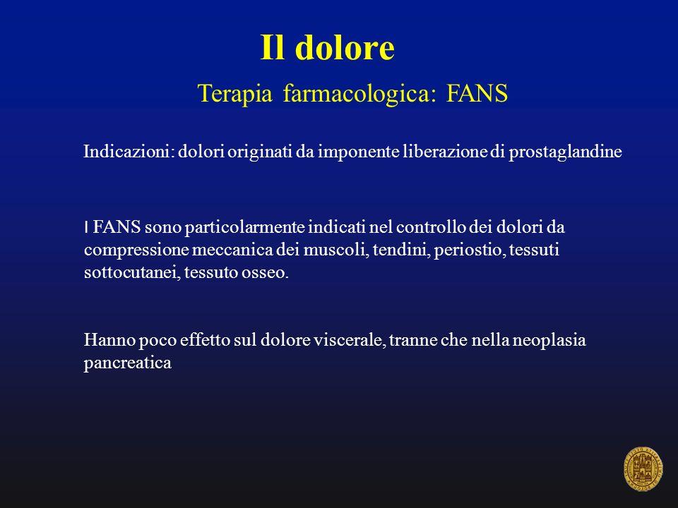 Il dolore Terapia farmacologica: FANS Indicazioni: dolori originati da imponente liberazione di prostaglandine I FANS sono particolarmente indicati ne