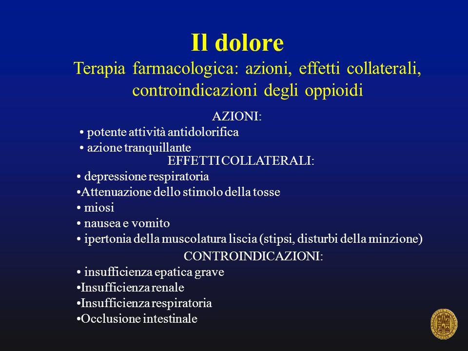 Il dolore Terapia farmacologica: azioni, effetti collaterali, controindicazioni degli oppioidi AZIONI: potente attività antidolorifica azione tranquil