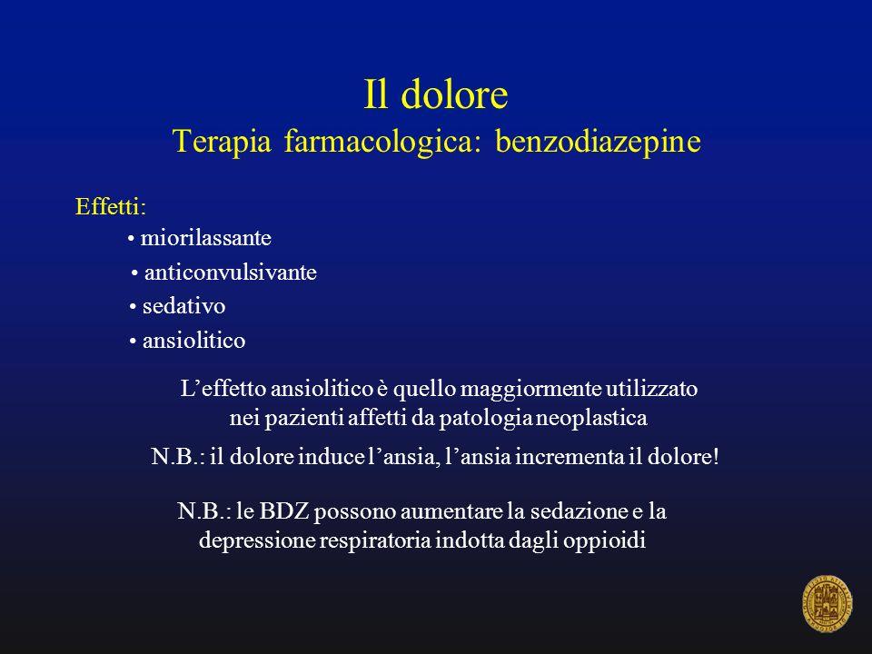 Il dolore Terapia farmacologica: benzodiazepine Effetti: anticonvulsivante miorilassante sedativo ansiolitico Leffetto ansiolitico è quello maggiormen