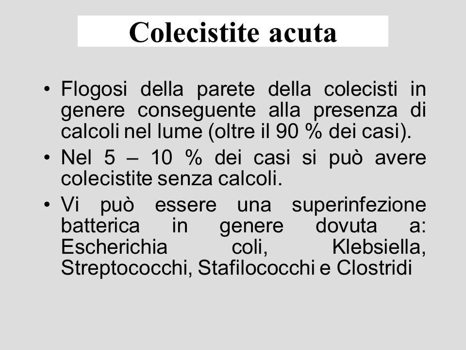 Colelitiasi: storia naturale La probabilità che un soggetto affetto da colelitiasi inizialmente asintomatico sviluppi una colica è del 2.9 % allanno.